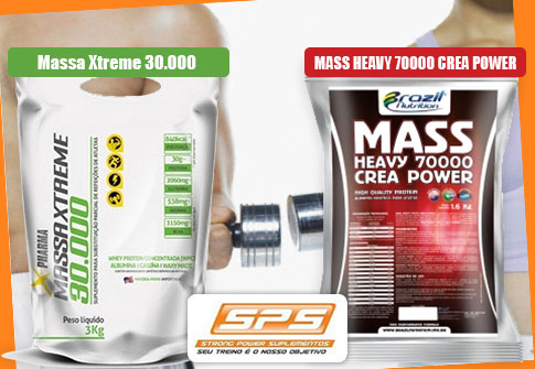 Massa Xtreme OU Mass Heavy Crea Power na SPS Suplementos