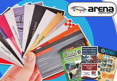 100 Cartões de Visita + 1000 Panfletos Coloridos (10x15cm) + Arte na Arena Gráfica