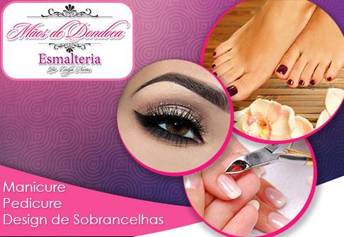 Manicure + Pedicure + Design de Sobrancelhas com Aplicação de Hennana na Mãos de Dondoca