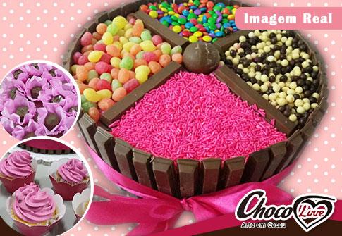 Chocolove: Bolo personalizado + 10 Cupcakes + 50 Bombons Finos de Chocolate Crocante