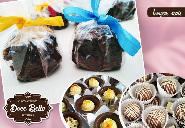 Doce Belle: 30 chocolates gourmet, 100 chocolates crocantes e trufados ou 50 mini brownies